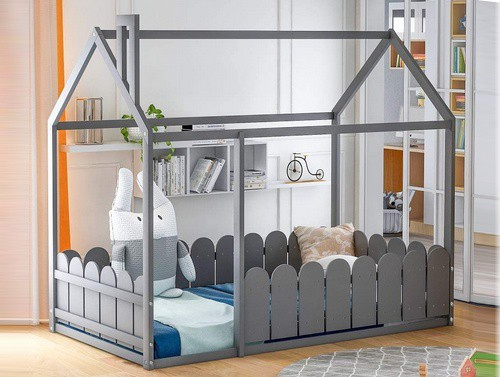 House Bed Twin Size with a Fence by Meritline