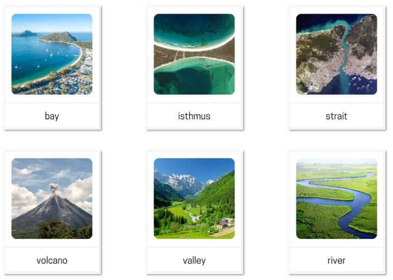 Land and water forms language cards