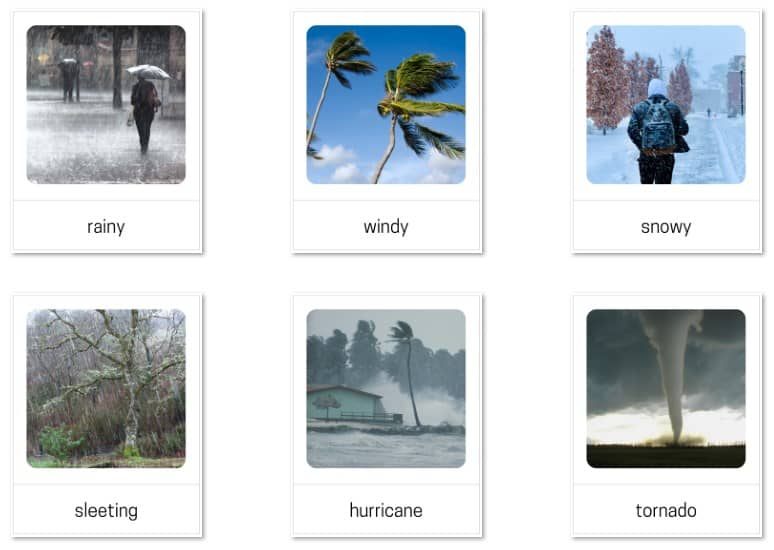 Weather 3-part cards