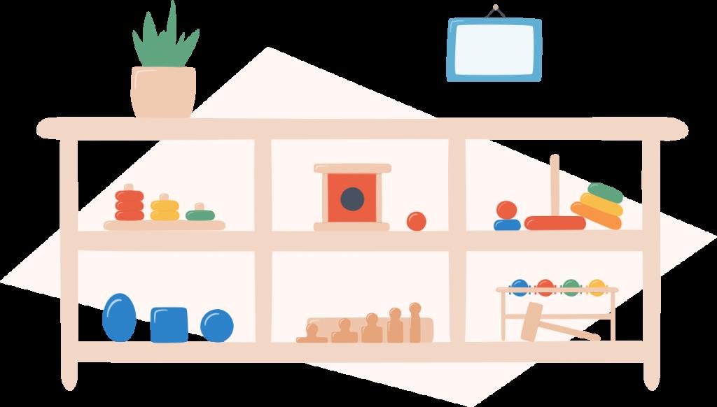 montessori toys on a shelf illustration